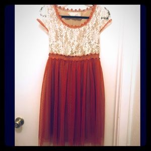 a'reve by Anthropogie beige/red lace/tulle dress